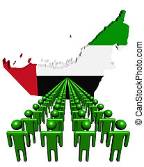 Lines of people with UAE map flag illustration