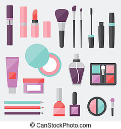 Set of colored cosmetics icons in flat style