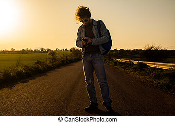 Traveling with Smartphone - Traveling Man with Smartphone on...