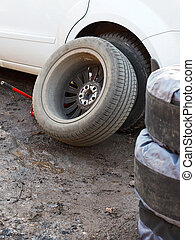 replacement of car tyres - tire fitting - seasonal...