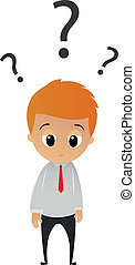 confused businessman and moody - Vector Illustration of...