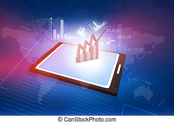 computer tablet PC showing a spreadsheet with some business charts