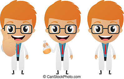 young scientist cartoon - Vector Illustration of young...