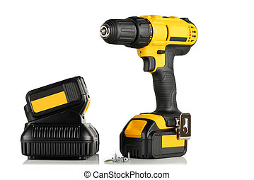 Handheld cordless power drill, battery, charger and screws....