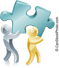 People holding jigsaw piece - Illustration of two people...