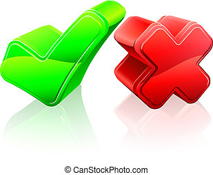Tick and cross concept of 3d red cross and green tick icons