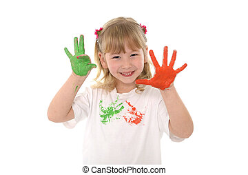 Sweet little girl showing painted hands in vibrant color -...