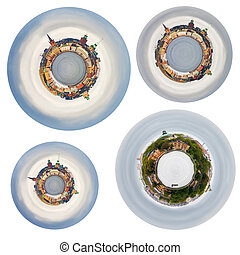 spherical panoramas of Stockholm cit - set of spherical...