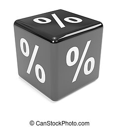 3d Black dice percent sign