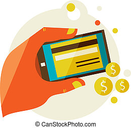 processing of mobile payments - Flat design illustration in...