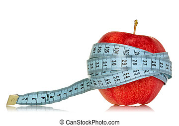 Diet concept with apple and measuring tape