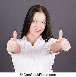 thumbs up - beautiful woman with thumbs up