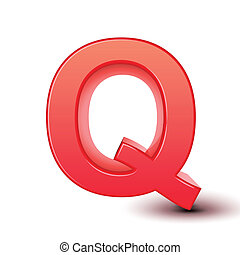 red letter Q isolated white background