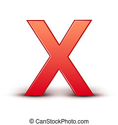 red letter X isolated white background