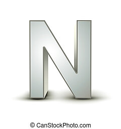 alphabet silver N - silver letter N isolated white...