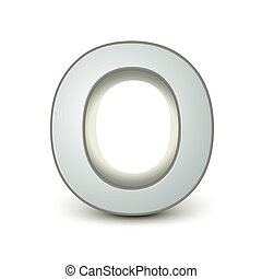 alphabet silver O - silver letter O isolated white...