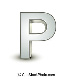 alphabet silver P - silver letter P isolated white...