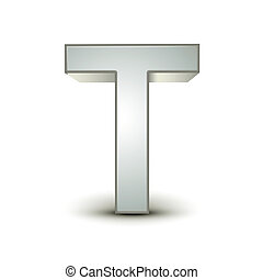 3d alphabet silver T - 3d silver letter T isolated white...