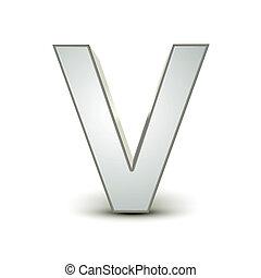 alphabet silver V - silver letter V isolated white...