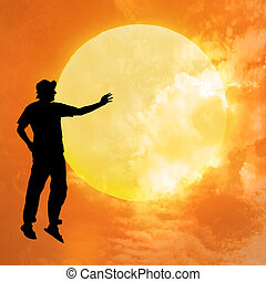 weightlessness - Male silhouette on background amazing...