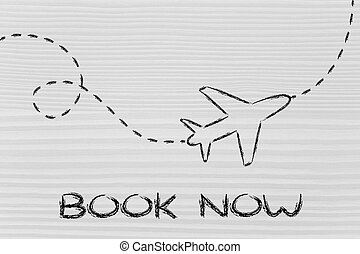 travel industry: airplane and air route or trail - air route...