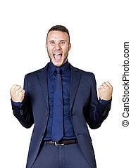 businessman shouts for success - a young businessman shouts...