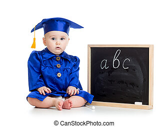 Baby in academician clothes  with chalkboard