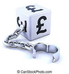 3d UK Pound dice with leg iron - 3d render of white dice...