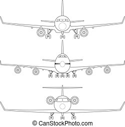 Commercial Airplane - Layered vector illustration of...