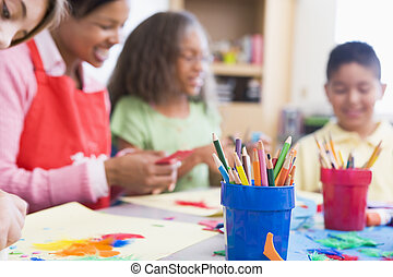 Elementary school art class selective focus