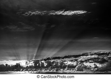 black white dramatic sky at sunset - black white dramatic...