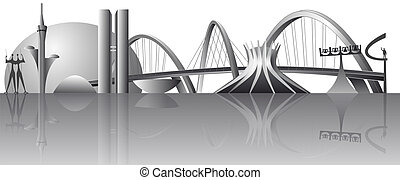 vector Brasilia city skyline - Vector illustration of the...
