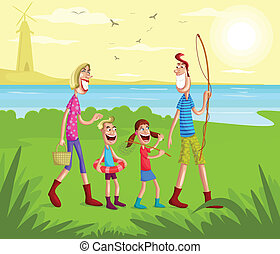 Happy family going for fishing