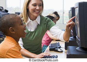 professor, ajudando, jardim infância, crianças,...
