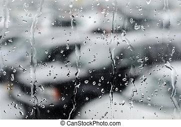 Abstract Image: Waterdrops After Snowfall at the Car Window,...