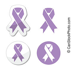 Lavender ribbon - cancer awaeness - The internationl symbol...