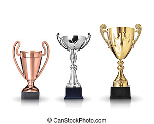 trophies - three different kind of trophies. Isolated on...