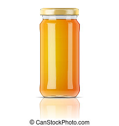 Glass jar with honey. - Glass jar with golden cap filled...