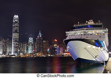 Night view on Hong Kong harbour liner - night view at the...