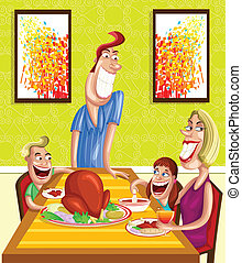 Happy family at dinner table - Happy family enjoying meal at...