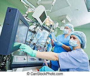 cirugía, Enfermera, trabajando, Durante,...