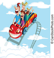 Happy family having fun ride - Happy family enjoying fun...