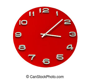 red round the clock isolated