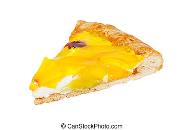 a slice of pizza on a white background