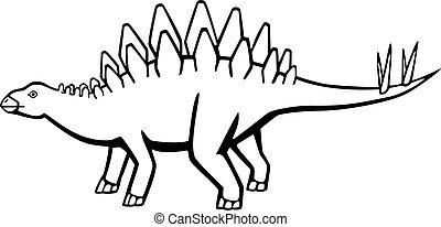 Stegosaurus - dinosaur with bony plates on the back and a...