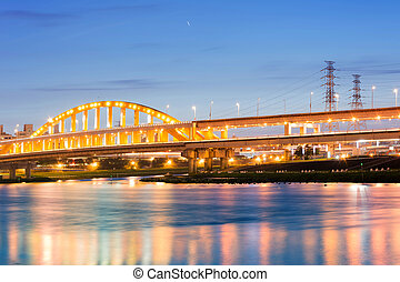 City night scenery with beautiful bridge in Taipei, Taiwan,...