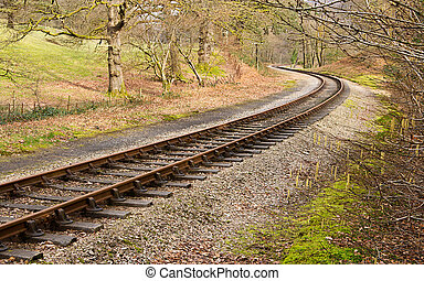 Rail Tracks S Curve - Heritage railway train tracks forming...