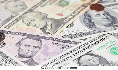 Falling US dollars - USdollars falling on US banknotes