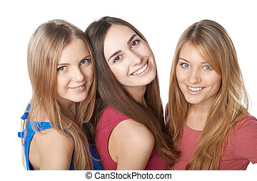 Closeup of three girls friends - Closeup of three happy...