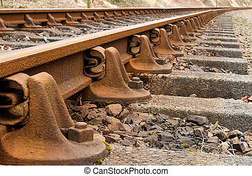 Train Tracks detail - Heritage rail road train tracks...